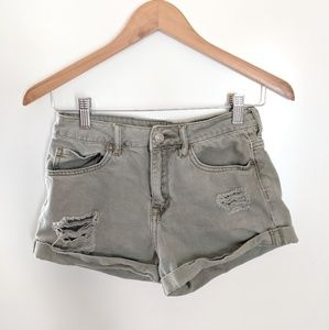 Pacsun Distressed High Rise Shorts Sage Green 24